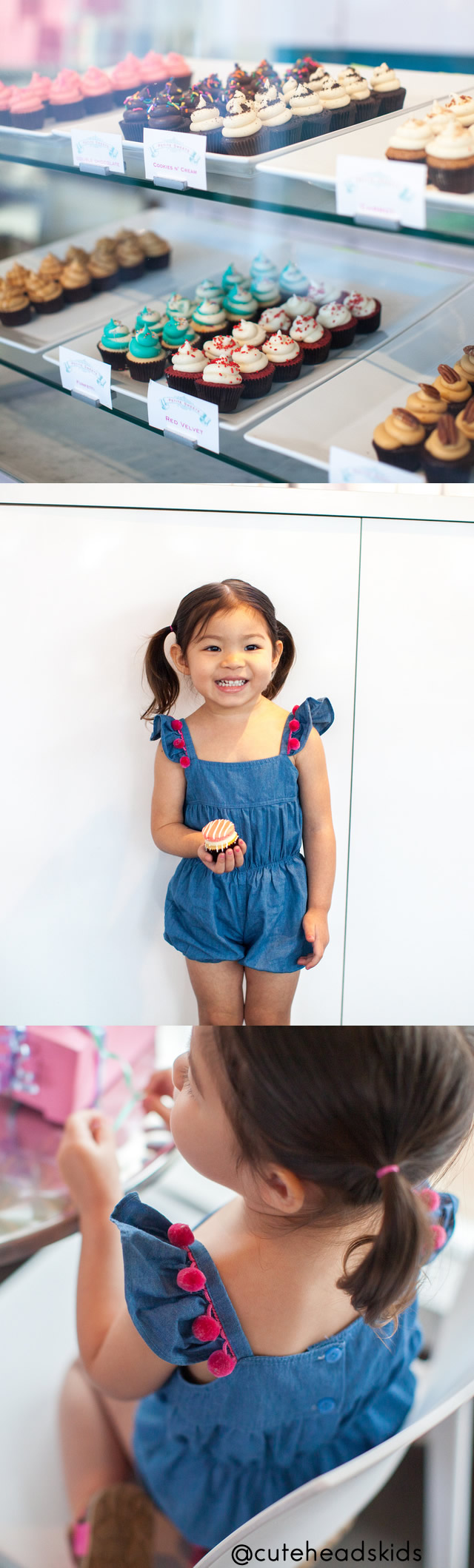 cute kids fashion and cupcakes for Houston bakery Petite Sweets. Desserts and chambray rompers go well together. via @cuteheads
