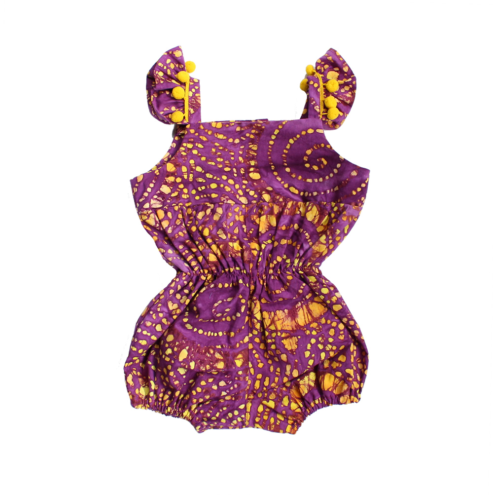 purple and yellow flutter sleeve romper designer kids clothes cuteheads