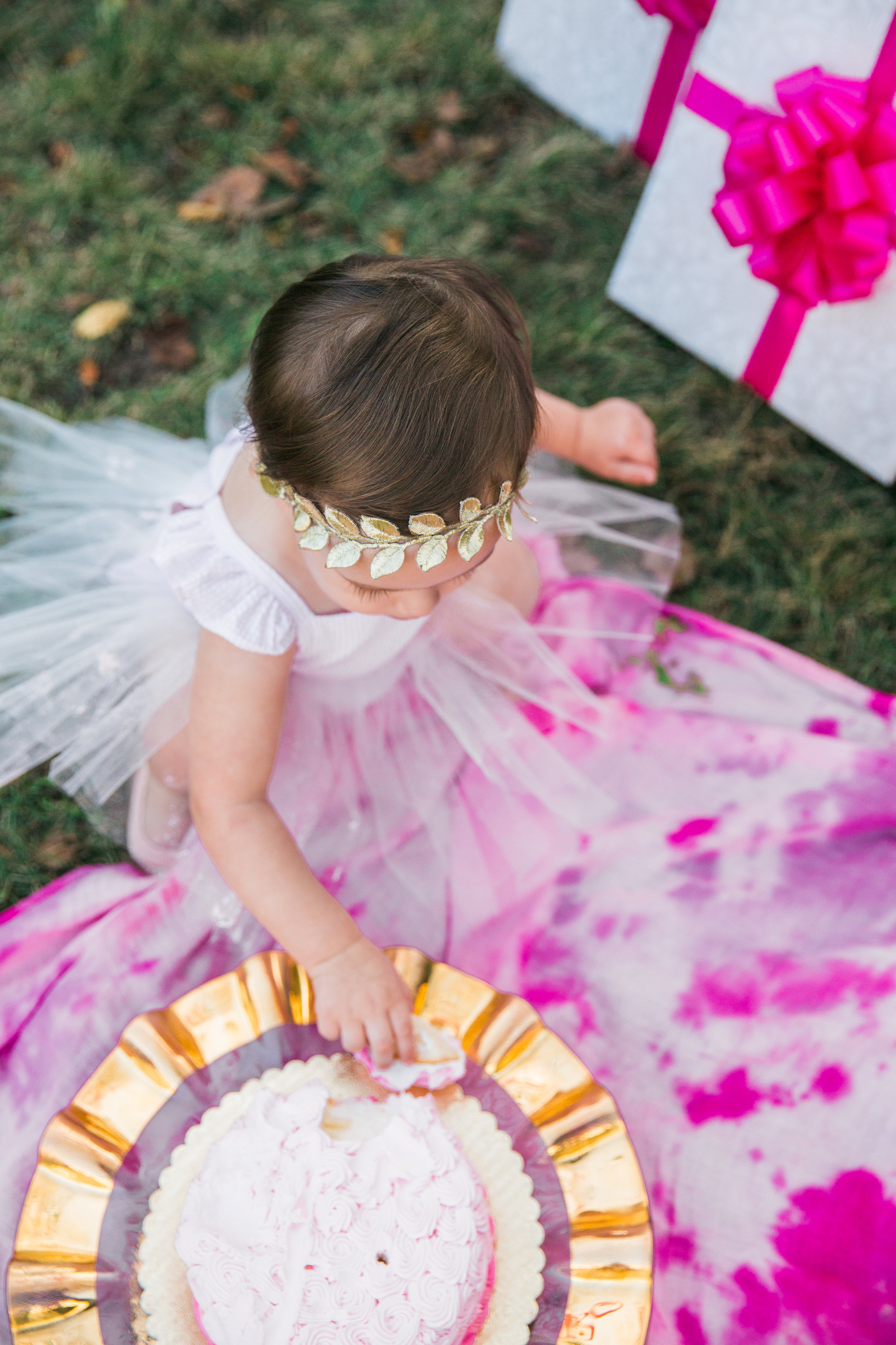 Pink and Gold First Birthday Party Cake Smash Photoshoot