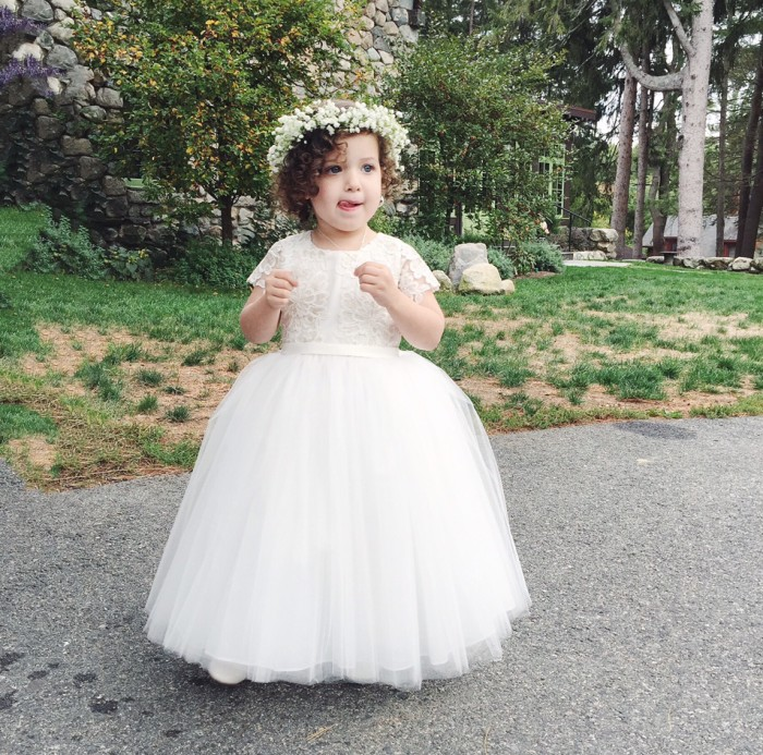 Flower Girl Dress: Ivory lace, tulle skirt and floral wreath