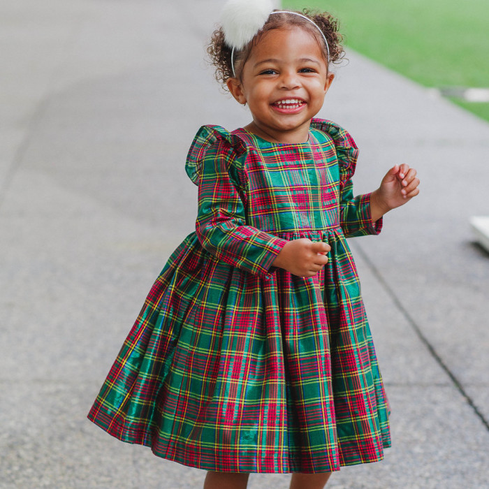 The Noelle Dress: red, green and gold shimmery cotton. The cutest Christmas dresses for girls, see more at cutehaeds.com.