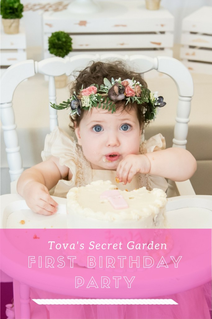 Tova's Navy, Pink, and Gold Secret Garden First Birthday Party