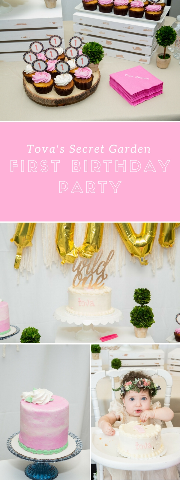Tova's Pink, Navy and Gold Secret Garden First Birthday Party