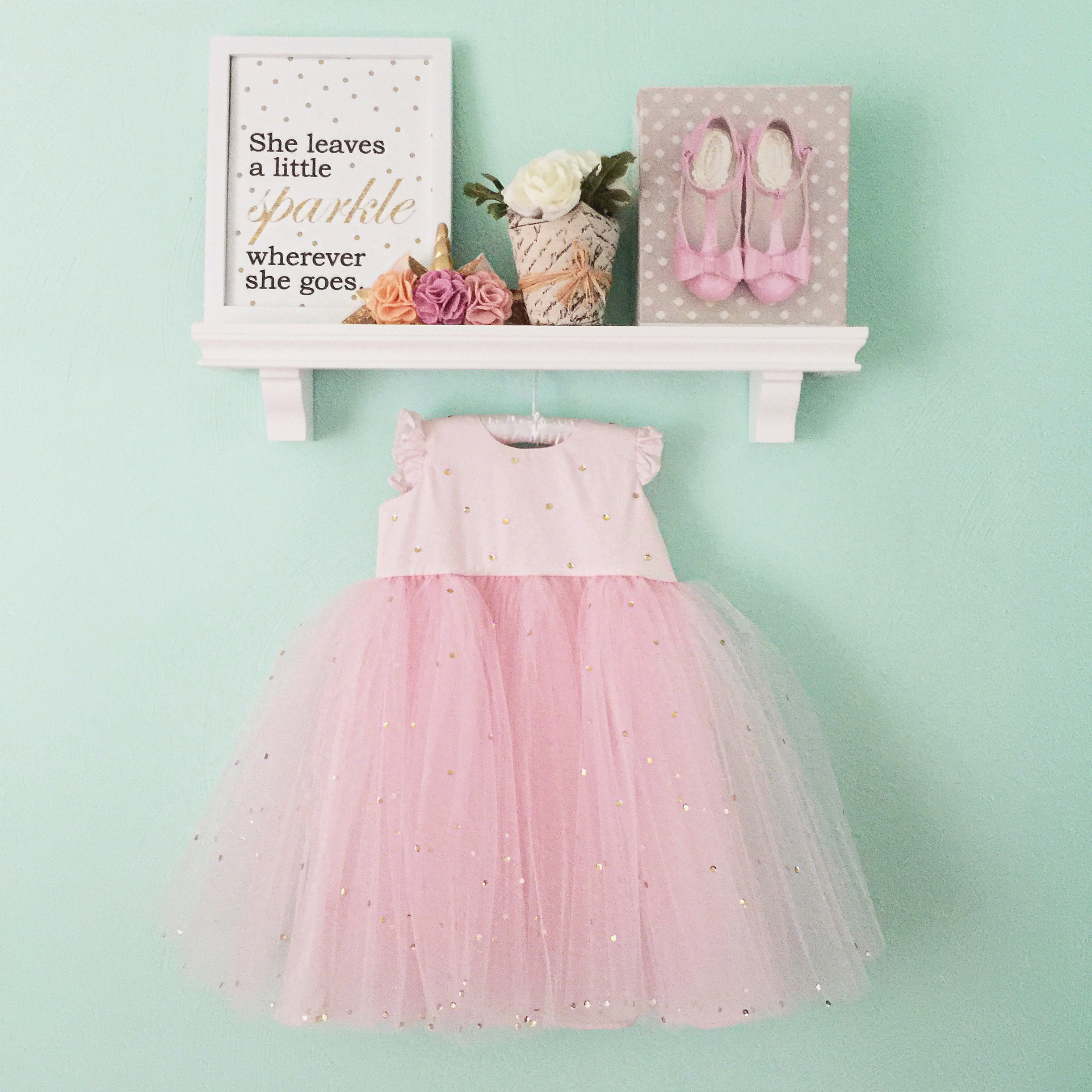 custom pink tulle flower girl or birthday party dress from cuteheads // order your own at cuteheads.com