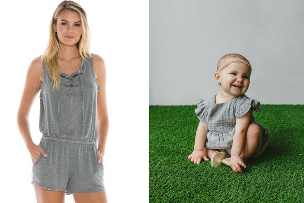 modern mommy and me matching outfits gray romper