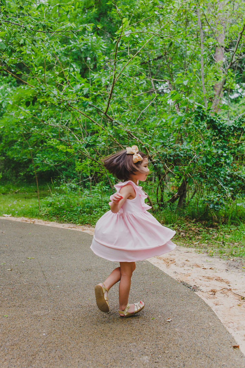 Little girls pink jersey bohemian dress. Shop now at cuteheads.com