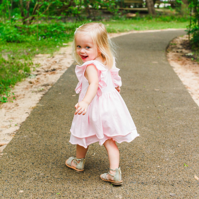 Little girls pink jersey bohemian dress