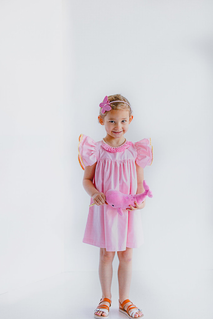 Sunny dress | light pink cotton dress with yellow and pink pom pom trim flutter sleeves, only at cuteheads.com
