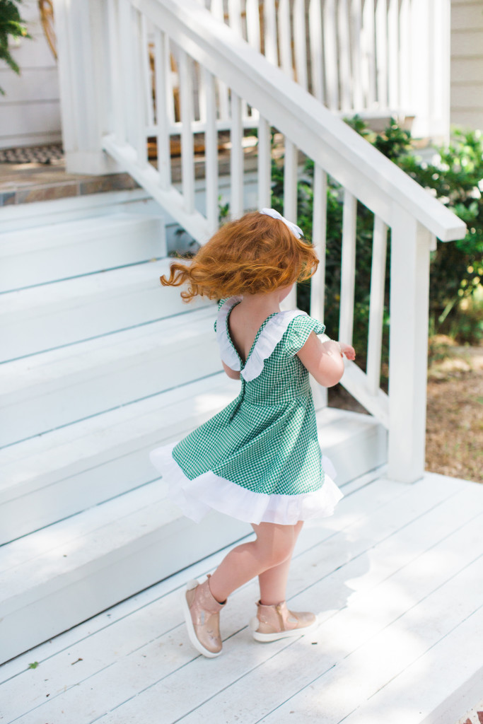 The cuteheads x Veronika's Blushing Harper dress, the cutest green gingham dress with white ruffled details, perfect for any season. Handmade girls fashion at its finest.