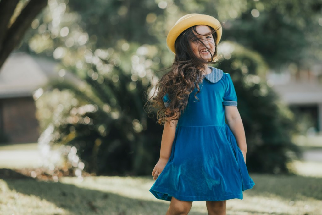 Girls winter fashion, only from cuteheads.com. Shop the Brie dress, a gorgeous blue velvet dress with chambray trim.