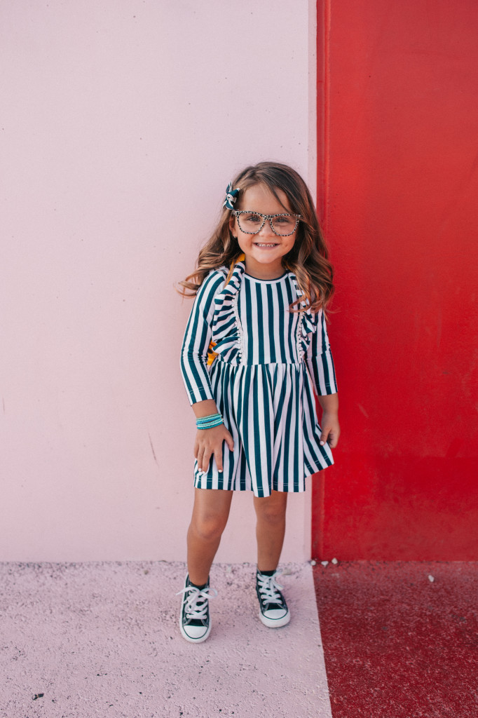 Navy and white striped girls dress