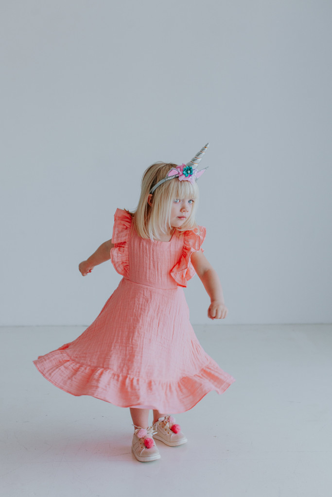 The Rosalind dress. Pink cotton twirly dress, the perfect Valentine's Dress for little girls