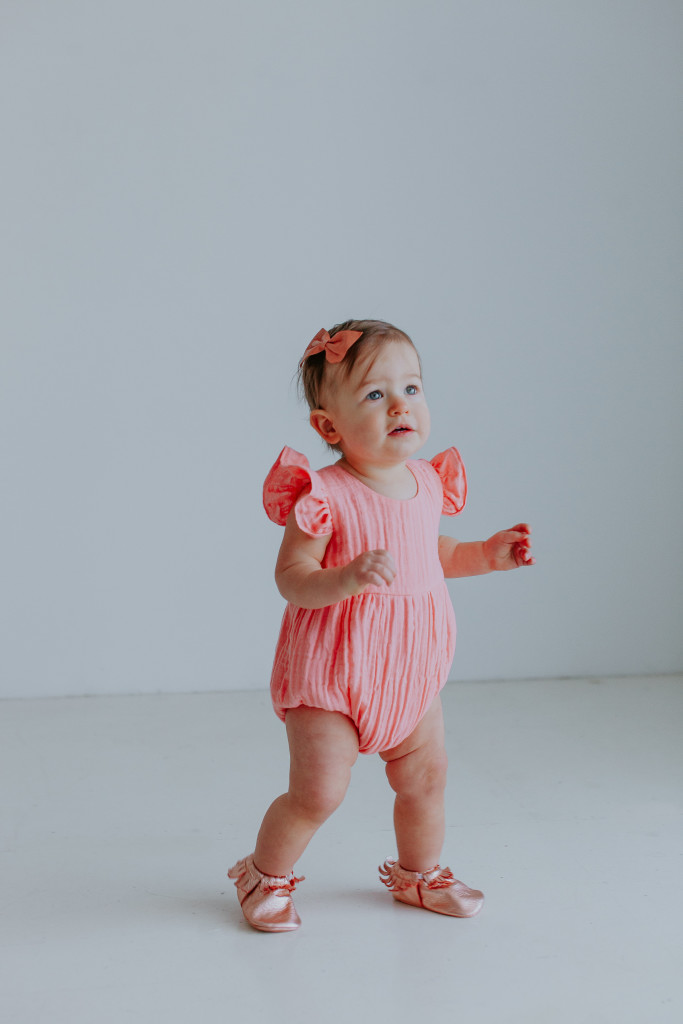The Rosalind romper, the cutest pink cotton bubble romper for baby girls