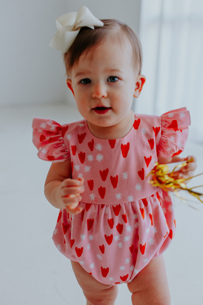 Ettie pink heart bubble romper, the perfect pink romper for Valentine's Day for baby girls
