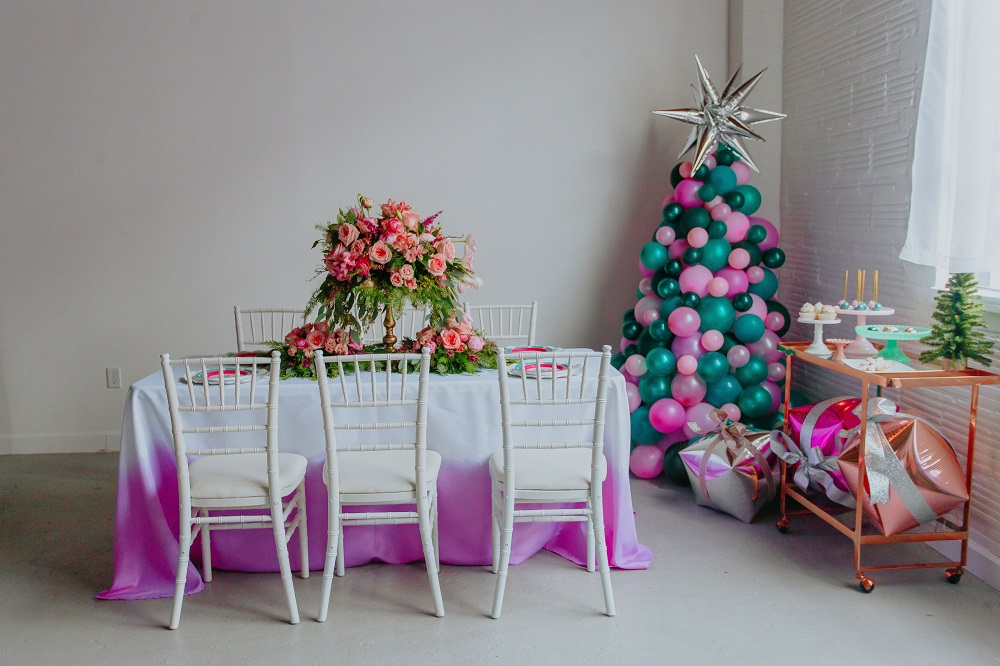 pink and green styled event -- see all the details at cuteheads.com