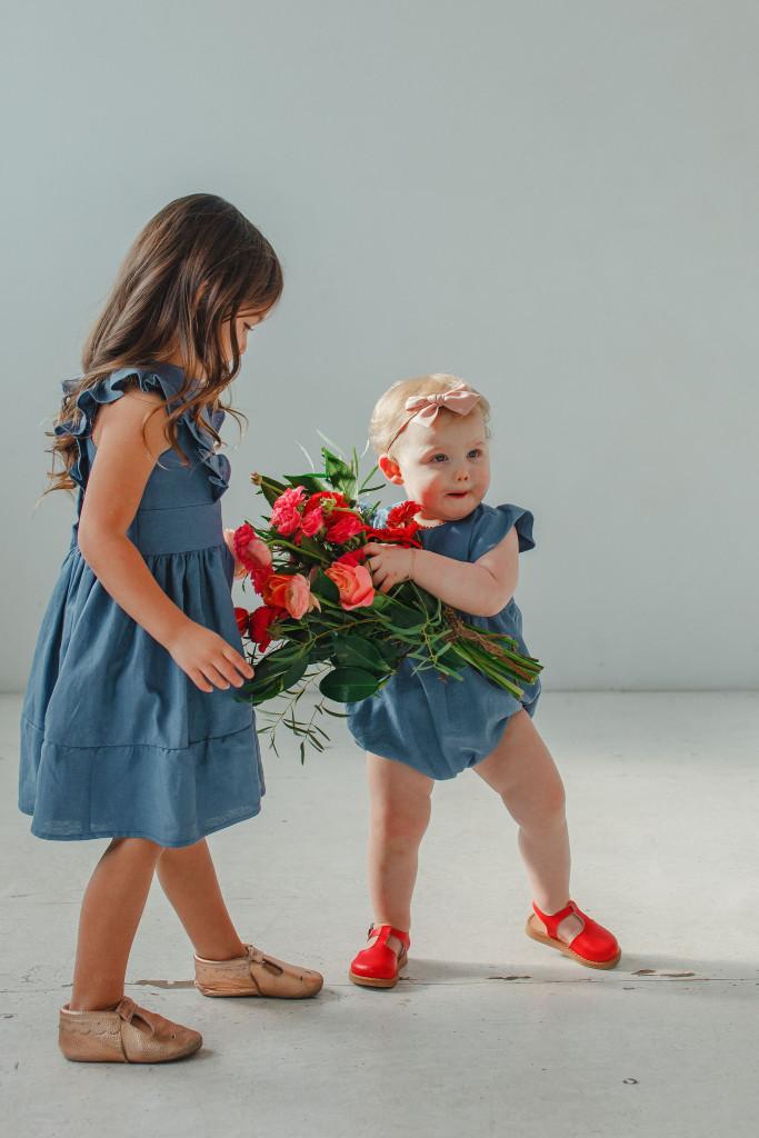 little girls Easter dresses - blue linen ruffle dress and matching bubble romper