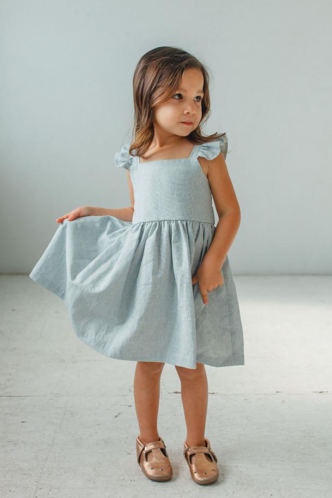 little girls Easter dresses - blue linen flutter sleeve dress