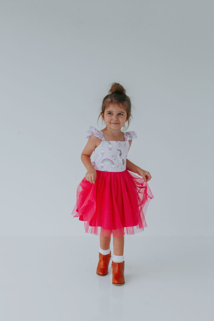 little girls pink tulle unicorn dress
