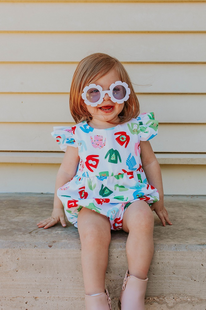 baby girl's christmas sweater bubble romper