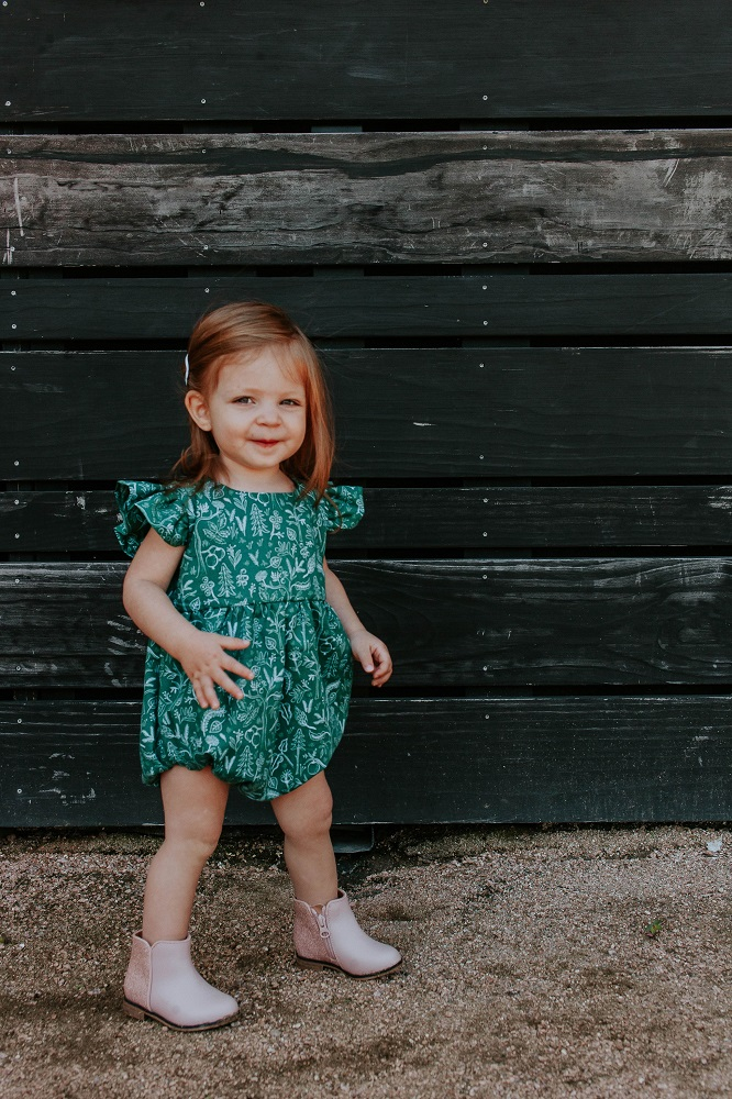 woodland themed rifle paper bubble romper
